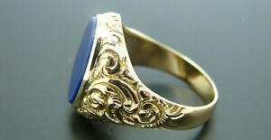 Herren Lapis Ring 585 Gold 14 Karat Siegelring Größe 61 Herren Gelbgoldring