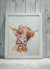New Signed original CONTEMPORARY art watercolour PAINTING of a Highland Cow