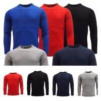 Mens Plain Sweatshirt  Knitwear Sweater Jumper Crew Neck Long Sleeve Tops