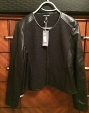 XS $598 EILEEN FISHER CHARCOAL FELTED MERINO DOUBLEKNIT W/ LEATHER SHAPED JACNWT