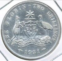 Australia 1921 Florin 2/- George V (Silver) - almost Very Fine