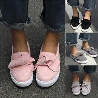 Womens Bowknot Plain Slip On Single Flat Shoes Trainers Pumps Plimsolls Loafers