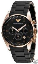 EMPORIO ARMANI AR5905 Mens Rose Gold Black Rubber Chronograph Watch RRP$395 SALE