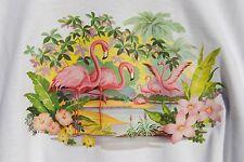 graphic Tee retro art vintage mens Cotton t shirt , S,M,L,XL,  Pink Flamingos
