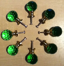 Solid Green Crystal Glass Faceted Brass Door Knob Handle Cabinet Drawer (HS095)