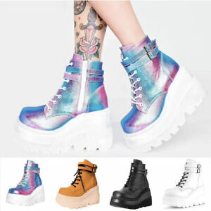 Ladies Womens Goth Punk Chunky Wedge High Heel Platform Shoes Ankle Boots Sizes