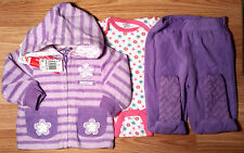 NWT Girl's Size 0-3 M Months 3 Pc Snugabye Purple Floral Angel Jacket, Pants Top