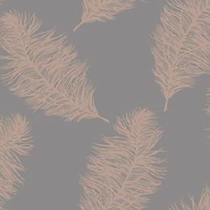 Holden Decor-Fawning Feather Shimmer Metallic Wallpaper- Grey Rose Gold - 12629