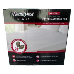 Beautyrest Black Dual Zone Heated Mattress 250 Count Cotton Topper Pad (Queen)