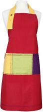 Dexan Rushbrookes Paintbox Red Colour Block Adult Full Bib Apron 100% Cotton