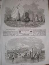 GUERRE EN CHINE CHINOIS PIRATES et port de Shanghai 1857 GRAVURES & article