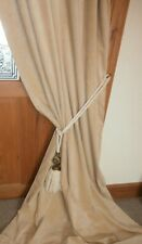 "Extra LONG Cream Bespoke Velvet DOOR Curtain 121""Drop ~ 43""Wide.CLEANED."