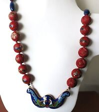 """RARE VINTAGE CHINESE 17mm 2 SIDES LACQUER SHOU CINNABAR CLOISONNE NECKLACE 28"""""""