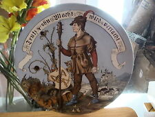 """Antique METTLACH Handpainted 14 1/2"""" Charger-Man with Weapon 1887"""