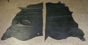 YWA6632-2) Lot of 2 Sides of Grey Green Printed Cow Leather Hides Skin