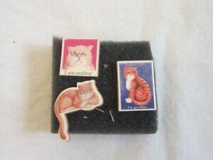 Thumb Tacks Push Pins Set of Three Wood Kitty Cat Images