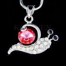 w Swarovski Crystal Pink Garden Sea Snail Slug Charm Jewelry Chain Necklace Cute