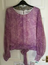 DARLING Lilac Fan Print Blouse With Sheer Sleeves & Tie Back Size Large