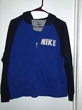 Nike Blue Black Hoodie Jacket Youth XL Zipper Front Kangaroo Pocket