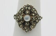 Sterling Silver .925 Vintage Sparkling Marcasite Moonstone Ring Sz 6.5  H290