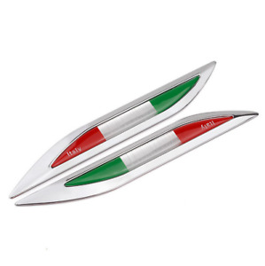 Pair 3D Metal Italy Italian Flag Car Fender Side Emblems Badges Stickers Decals