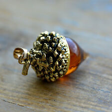 Amber Glass Acorn Charm, Vintage Brass Cap, Woodland Pendant