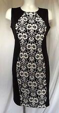Sheath Dress Black White plus sz 1X Floral Tiana B Column Shift Wiggle USA vc