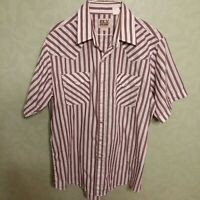 Ely Cattleman Mens L Short Sleeve Pearl Snap Brown striped  Western Shirt