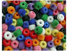 160 Soft Multi Colors Fuzzy 9x6mm Pony Beads for school kids craft kandi jewelry