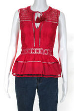 Sea New York Womens Sleeveless Perforated Lace Blouse Red Size 0