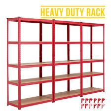 3 Bays 5 Tiers Heavy Duty Shelving Steel Racking Unit Metal Garage Shelf Red
