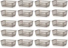 20x Whitefurze Plastic Nestable Handy Tidy Storage Basket Tray 25cm - Silver