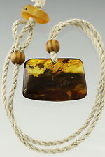 Fossil CRANE FLY Genuine Baltic Amber Pendant on Linen String 15.4g p170309-18