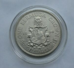 1964 Bermuda One Crown Silver Coin In Capsule