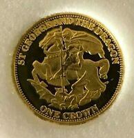 DRAGON GOLD coin- 2008 St. George and DRAGON 1/25 ounce -from Tristan Da Cunha