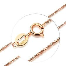 J.Lee 18INCH Solid 18K Rose Gold Necklace Special 0.8mm O Link Chain Necklace