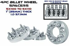 """4 - 5x100 MM TO 5x110 MM (1""""  25 MM THICK) CONVERSION WHEEL SPACERS ADAPTERS"""