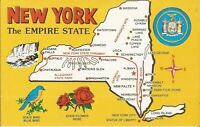 "NEW YORK - ""Empire State"" - MAP, State Seal, Flower: Rose, Bird: Blue Bird"