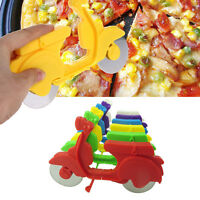 Motorcycle Chopper Cutter Pizza Stainless Steel Wheels Dual Slicer Non-stick