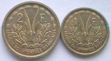 French Equatorial Africa 1948 Set of 2 Essai Coins,1,2 Francs,Rare!