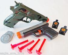 2X Toy Guns Camo 9MM Cap Gun & 9MM Dart Pistol & Targets Set SAFE