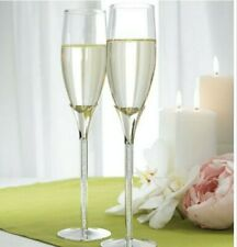 Wedding Champagne 2 Flutes With Glass Gems In Stems by Weddingstar. New