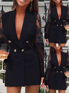 Women Lace Long Sleeve Blazer Dress Ladies OL Work Office Double Breasted Jacket