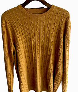 """RACING GREEN Men's Cable Knit Sweater Mustard Soft SzXL Cotton 47"""" Chest VGC"""