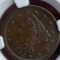 NICE 1853 * NGC MS62 C-1 B-1 R.1 MS 62 Braided Head Half Cent ~ Lovely Brown