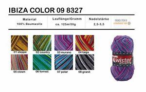 (5,80€/100g) 50g Baumwolle  Twister ibiza color  meliert stricken häkeln