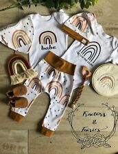 Rusty Rainbow Newborn gift coming home outfit harem pants bib and top knot beani