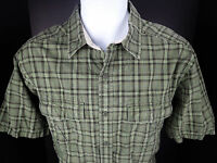 Medium REI Green Plaid Short Sleeve Button Front Cotton Shirt Camp Base Travel