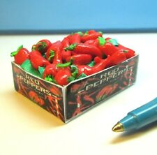 Vegetable Crate, Red Peppers,Dollhouse Miniature, All Artisan Hand Made # F496