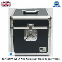 "1 X NEO Aluminium Black DJ Flight Case to Store 100 Vinyl LP 12"" Records STRONG"